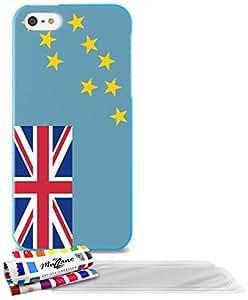 """Carcasa Flexible Ultra-Slim APPLE IPHONE 5S / IPHONE SE de exclusivo motivo [Tuvalu Bandera] [Azul] de MUZZANO  + 3 Pelliculas de Pantalla """"UltraClear"""" + ESTILETE y PAÑO MUZZANO REGALADOS - La Protección Antigolpes ULTIMA, ELEGANTE Y DURADERA para su APPLE IPHONE 5S / IPHONE SE"""