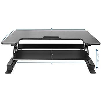 "VIVO Height Adjustable Standing Desk Sit to Stand Gas Spring Riser Converter | 36"" Tabletop Workstation fits Dual Monitor (DESK-V000B)"