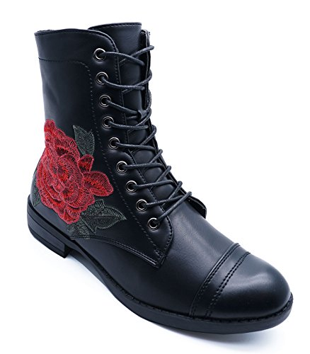 Shoes Biker Ladies Combat Rose Up Ankle 3 Military HeelzSoHigh Up Lace Flat Boots 8 Black Zip Sizes OqnXdwvBz