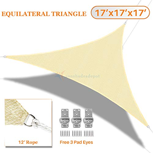 Sunshades Depot 17 x17 x17 Sun Shade Sail 180 GSM Equilateral Triangle Permeable Canopy Tan Beige Custom Commercial Standard