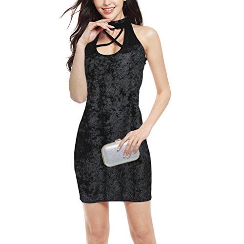Zhhaijq frauen sind sexy high waist - verband im sommer design samt ärmellose kleid Black