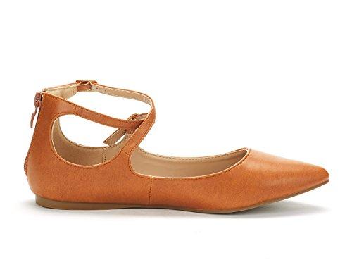DREAM PAIR Frauen Sole-Riemchen Ankle Straps Flats Schuhe Tan Pu