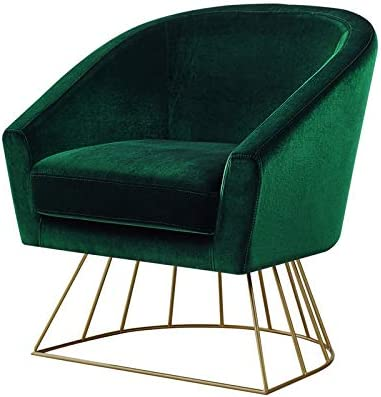 Armchair Green Lounge Chair Modern Velvet Accent Upholstered Arm Club Chair with Gold Legs HCD Green Velvet Club Chair