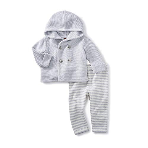Tea Collection 2 Piece Baby Soft Sweater Outfit, 100% Soft Pima Cotton, Sterling Gray Hoodie Sweater, Gray and White Pants (6-9 - Sweatshirt Pima