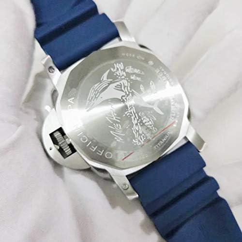 Brandless Montres Casual Hommes Automatique Mécanique Saphir Acier Inoxydable Bleu Caoutchouc Mat Lunette Montre Lumineux 47mm