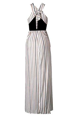 Coffee Stripe Sleeveless Neck Dress Womens V Party Soft Coolred Deep Side Slit xqOPBXw1n