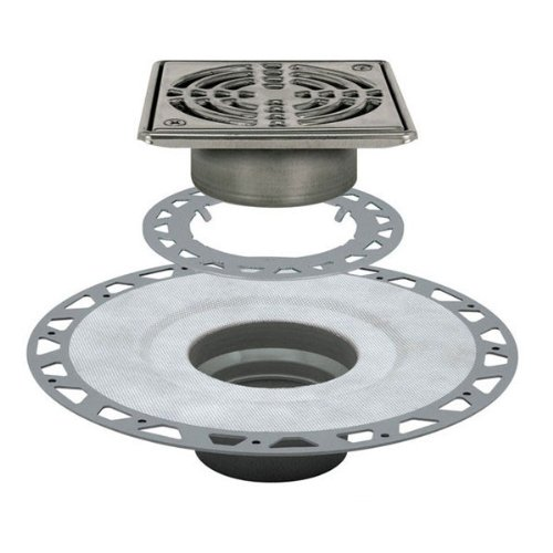 Schluter KERDI-DRAIN - PVC Flange - Drain Kit - 3'' Drain Outlet - 6'' Square Grate - Stainless Steel by Schluter (Image #1)