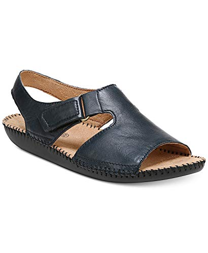 Naturalizer Womens Scout Leather Peep Toe Casual, Navy Leather, Size 8.5