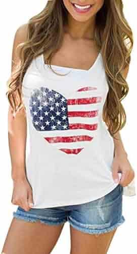 d0e9b1f6fd9fba SuperUS American Flag Tank Top 4th July Stripe Patriotic Tops Shirts Blouse