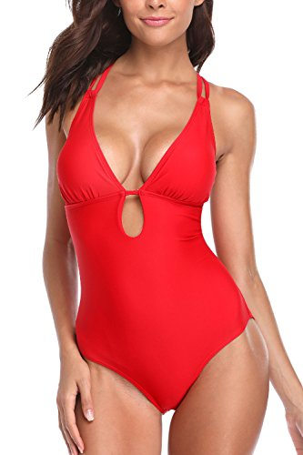 Sociala Deep Plunge One Piece Swimsuits for Women Strappy Back Swimwear M Red