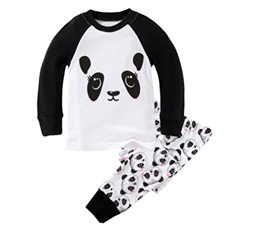 Girl Panda - Mammybaby Little Girls Panda Long Sleeved Pajamas Set Cotton DRG7463 (11-12Y) White