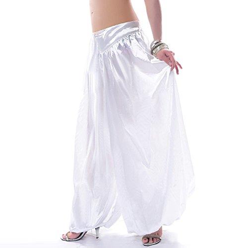 ROYAL SMEELA Belly Dance Pants for Women Belly Dance Costume Carnival Satin Pants Dance Harem Pants Lantern Pants, One Size White