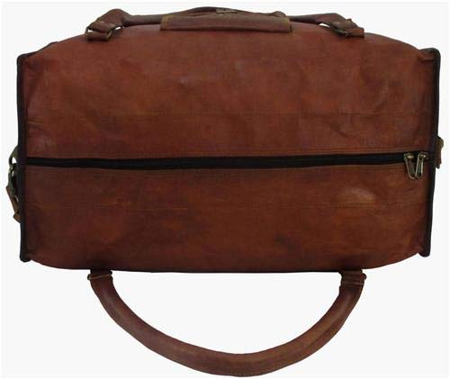 dzcollections 18 Large Vintage Brown Goat Leather Travel Duffel Carry on Luggage Weekender Bag