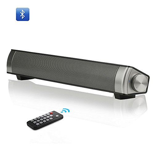 Tv soundbar wireless bluetooth speaker sound bar with subwoofer 10W Stereo speaker for Computer Desktop Laptop PC and Smartphone TF card remote control 2018 Update BESTOUYE