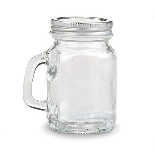 Kate Aspen 30049NA Mini Mason Mug Shot Glass with Lid (Set of 12) DIY Favor, One Size, -