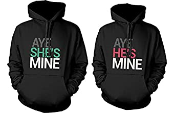 His and Her Matching Hoodies Aye She's Mine, Aye He's Mine Couples Hoodies 365 Printing Inc