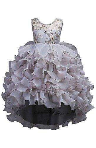 BOFETA Girl Flower Princess Tulle Lace Birthday Sleeveless Holiday Dress Grey 120