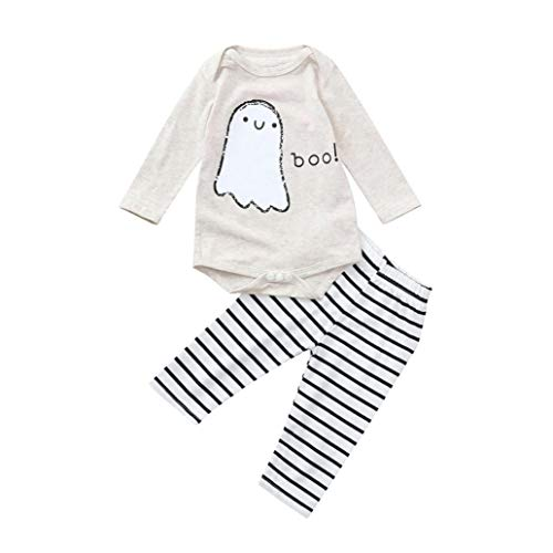 XILALU Toddler Infant Baby Romper&Pants, Halloween Ghost Stripe Print Cotton Outfits Set for Girls Boys ()