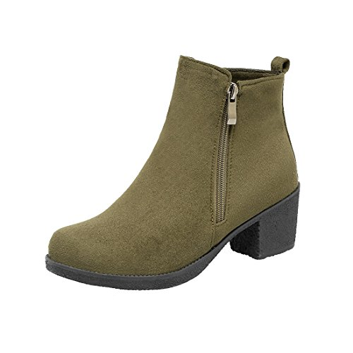 100FIXEO Women's Faux Suede Chunky Heel Ankle Boots Side Zipper (7.5 B(M) US, Army Green)