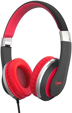 Elecder i41 Kids Headphones, Headphones for Kids Children Girls Boys Teens Foldable Adjustable On Ear Headphones with 3.5mm Jack for Cellphones Computer MP3/4 Kindle School(Red/Black)
