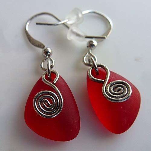Red sea glass earrings small 0.5 inch ocean coast hawaiian foam beach prime handmade nautical fashion mermaid tears jewelry for women and girls Cyber Monday deal Christmas gift under $20