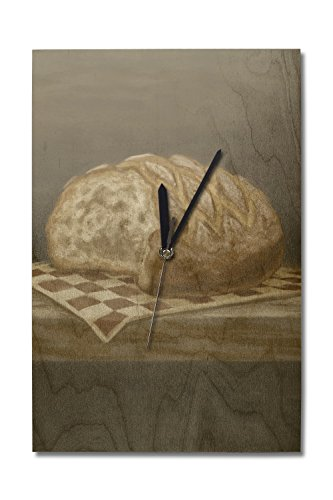 Lantern Press French Country Bread - Oil Painting (10x15 Wood Wall Clock, Decor Ready to Hang)