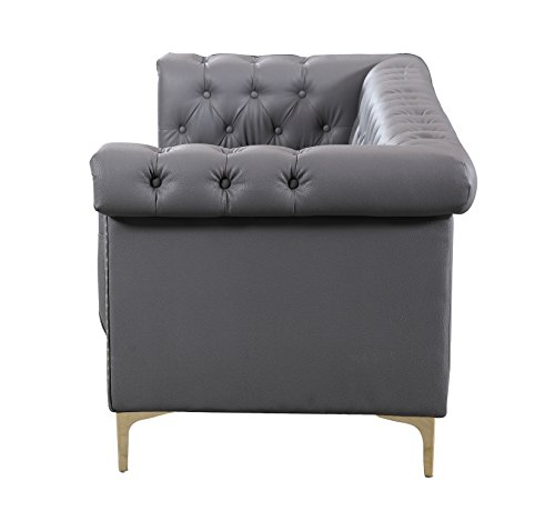 Iconic Home Winston Modern Tufted Gold Nail Head Trim Grey