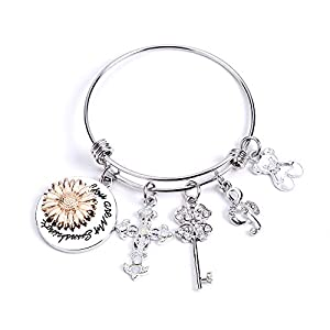 Fidget Spinner Bracelets, You are My Sun Shine,Sunflowers Stainless Steel Bangle Bracelet, Birthday Christmas Valentines Jewelry, Initial Charm Bracelets Gift for Women Teen Girls