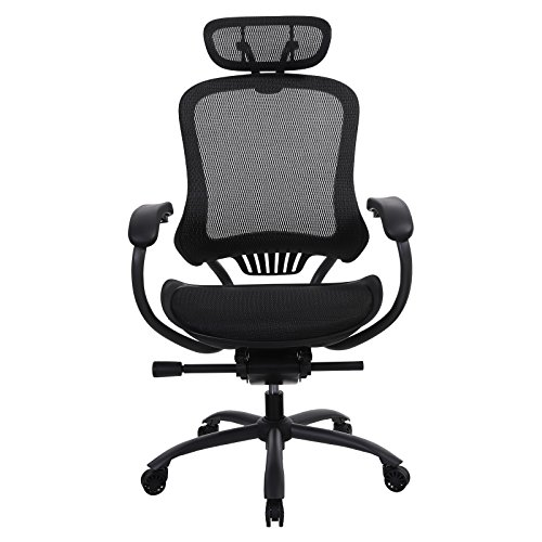 (SONGMICS Ergonomic Mesh Office Chair with High Back,Waterfall Armrest,Executive Swivel desk Computer Desk Chair,Breathable Seat,Tilt Lock Function, Black,UOBN91BK)