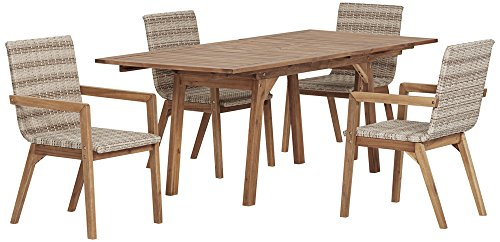 Vancouver Natural Wood and Wicker 5-Piece Outdoor Dining Set -