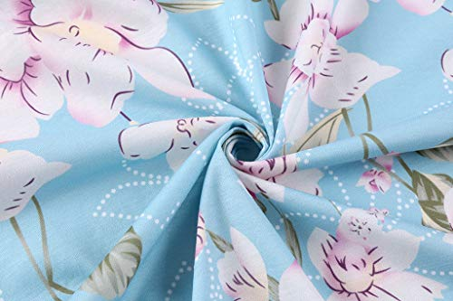 Akihoo Women Casual Summer Tank Sleeveless Pleated Sun Dress Flower S