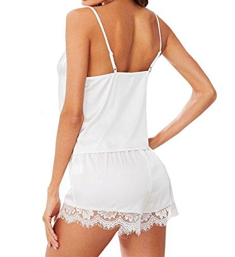 Camicie da Pigiama JackenLOVE Tops Estivi Notte Sexy e Donna Set Cucitura Pantaloncini Pezzi Pizzo Canotte Bianca in 2 qpxnA
