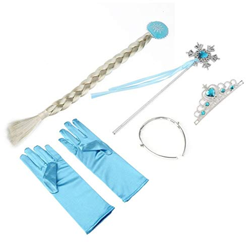 Lavended 4Pcs/set Children Hair Accessories Blue Crown Wig Magic Wand Glove for Girls Party Princess Accessory Hot Sale ()
