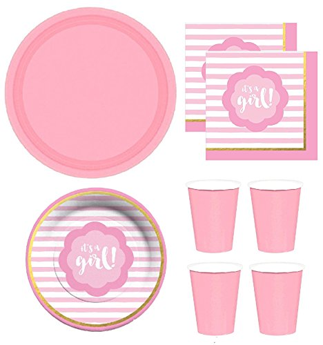 Pink & Gold Baby Shower Party Supplies for 16 Dinner Plates, dessert plates, napkins paper cups