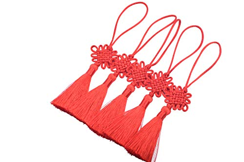 KONMAY 10pcs Tiny/Small(5.0'') Handmade Satin Silk Chinese Knots Tassels for Hanging Decoration,Red