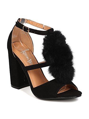Heart.thentic Women Faux Suede Peep Toe Pom Pom Block Heel Sandal GC30 - Black (Size: 9.0)