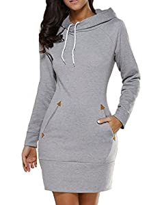 Celmia Women Long Sleeve Slim Hooded Pullover Zipper Tunic Sweatshirt Dress Hoodie with Pockets