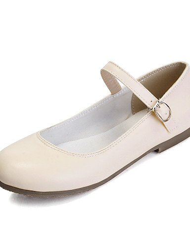 mujer zapatos eu38 5 PDX Flats negro cn38 Casual 5 talón uk5 rosa piel punta almendra sintética almond blanco plano us7 de de redonda nttUrv5