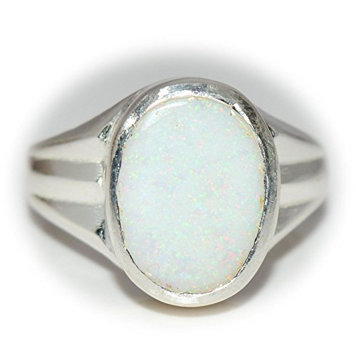 Natural White Opal Ring (55Carat Natural Opal Silver Ring for Men 6 Carat October Birthstone Size 4,5,6,7,8,9,10,11,12,13)