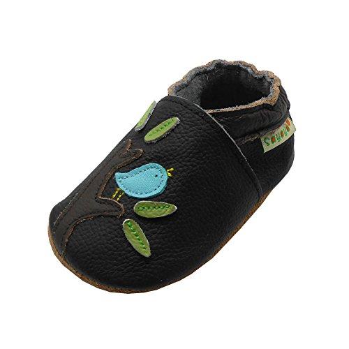 Sayoyo Suaves Zapatos De Cuero Del Bebé Zapatillas del árbol del pájaro negro