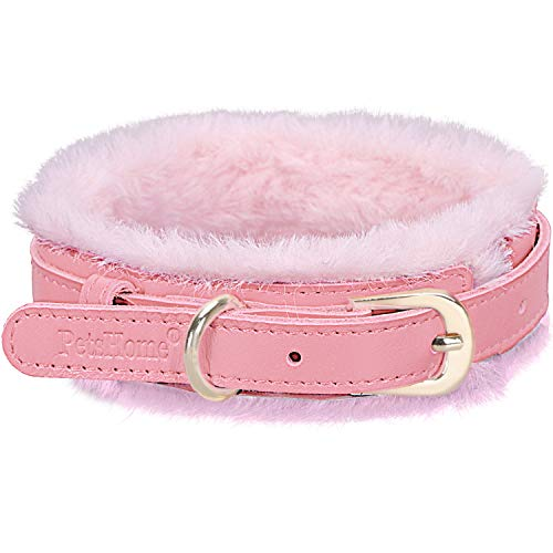 PetsHome Dog Collar, Cat Collar, [Genuine Leather][Soft Fur] Adjustable Collars for Small Dog and Cat Small Pink