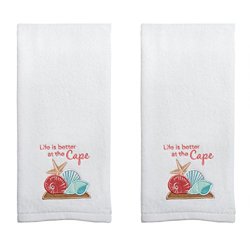 White Cotton Embroidered Cape Cod Summer Themed Hand Towels, Set of 2 (Life is Better at The Cape) (Nantucket Bath Towel)