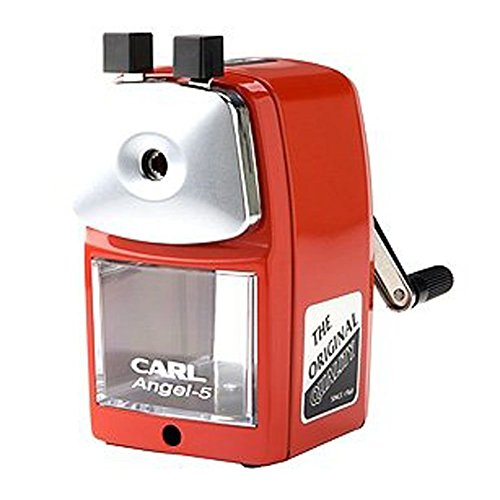 Monitor Graphite Standard - CARL Angel-5 Pencil Sharpener, Red, Quiet for Office, Home and School