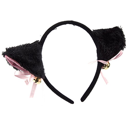 Cat Ears Headband - Kitty Hairband for Girls with Fluffy Ears and Jingle Bells, Dress-Up Party Supplies for Halloween, Birthday, Cosplay, Pink and Black