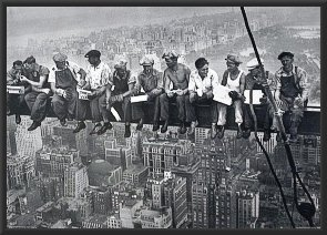 Lunch on a Skyscaper-Vintage Black/White, Photography 36x24 Wood Framed Poster Art Print