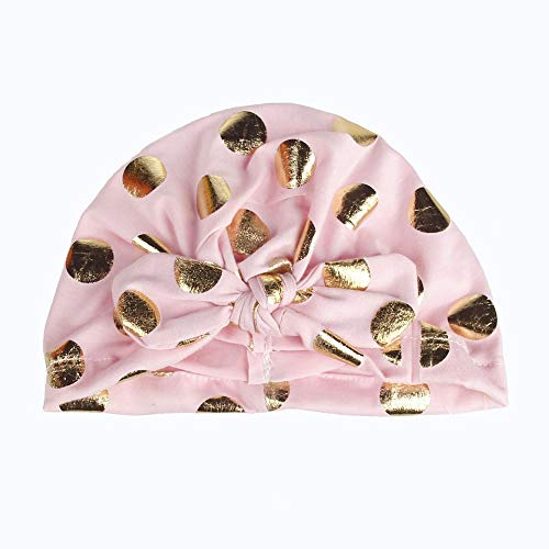 Infant Hat Baby Girls Tie Indian Hat Newborns Elastic Bronzing Dot Printing Hedging Cap Baby Clothing & Shoes Pink Free ()