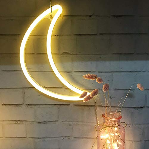 Crescent Neon Light Moon LED Neon Signs Warm White Art Wall Mood Decor for Bed Decor Bedroom Decorations House Bar Recreational, Birthday Party Kids Room, Living Room, Wedding Party ()