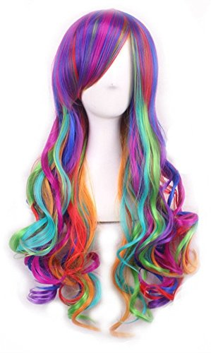 29.5'' Women's Long Curly Cosplay Wigs and A Wig Cap, Harajuku Style Lolita Dazzle Colour Hair Wig for Mermaid/Unicorn Costume; wig001DC by QHQ-SHININGLIFI