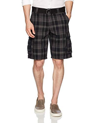 (Lee Men's Big and Tall New Belted Wyoming Cargo Short, Black Clifton Plaid, 48)