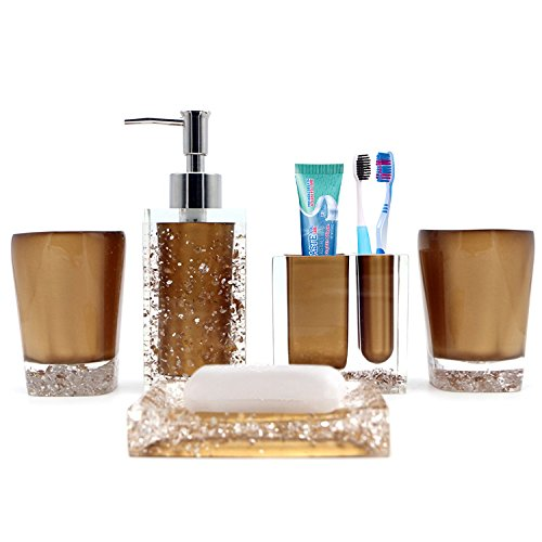 Bronze Bathroom Accessory Set Complete, Gold Bathroom Accessories Chrome for Bathroom, Powder Room, Kitchen